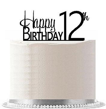 Item#AE-115 Happy 12th Birthday Agemilestone Elegant Cake Topper
