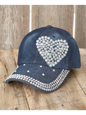 33338659324c01 Product Image Women's Bling Embellished Denim Baseball Hat - Heart