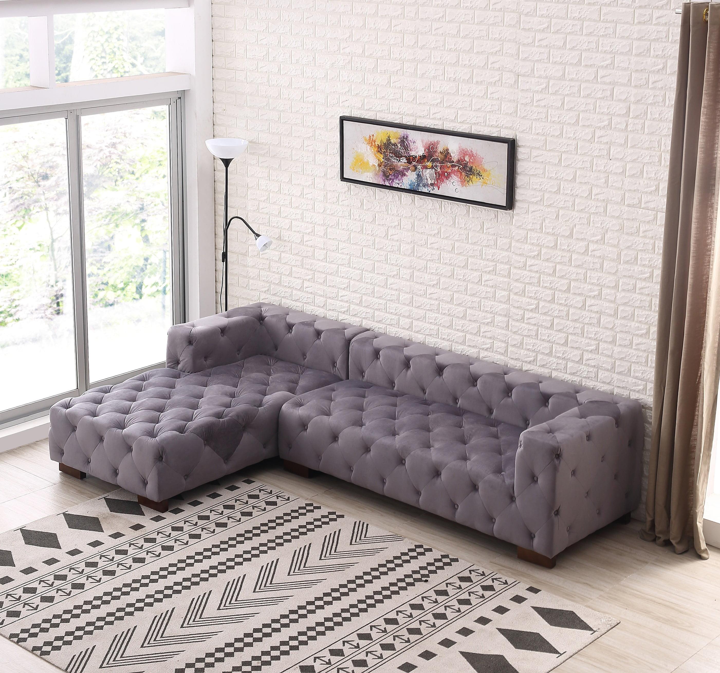 Us Pride Furniture Tufted Chesterfield Sectional Sofa Left Facing Walmart Com Walmart Com