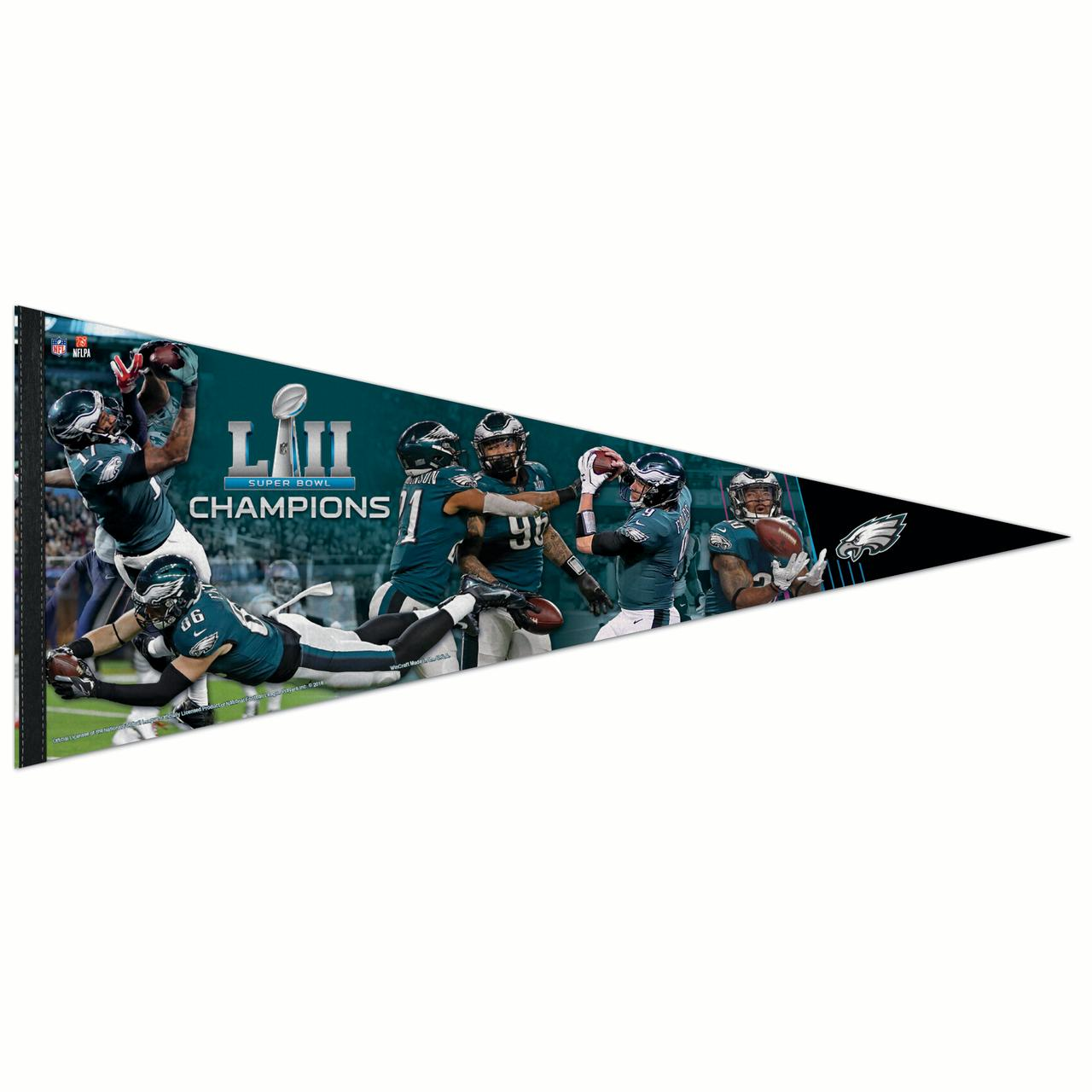 "Philadelphia Eagles WinCraft Super Bowl LII Champions 17"" x 40"" Players Premium Pennant - No Size"