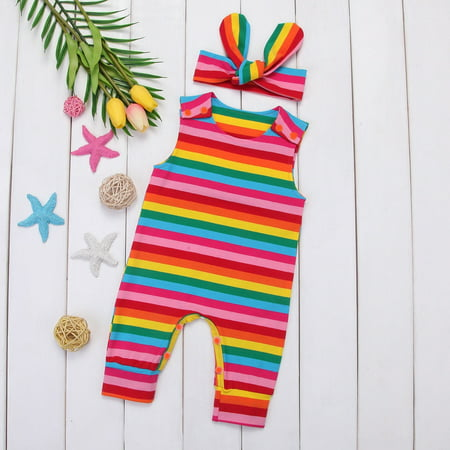 f44108e407e Emmababy - Toddler Infant Kids Baby Girls Rainbow Romper Jumpsuit Bodysuit  Clothes Outfits - Walmart.com