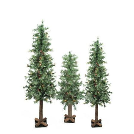Set of 3 Pre-Lit Woodland Alpine Artificial Christmas Trees 3' 4' and - Set Of 3 Pre-Lit Woodland Alpine Artificial Christmas Trees 3' 4