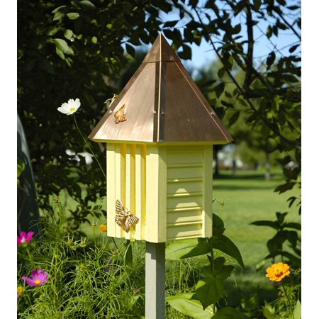 Flutterbye Butterfly House with Yellow Solid Copper Roof (Yellow Butterfly House)