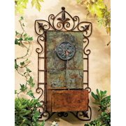 """John Timberland Rustic Outdoor Wall Water Fountain with Light LED 33"""" High Medallion for Yard Garden Patio Deck Home Hallway"""