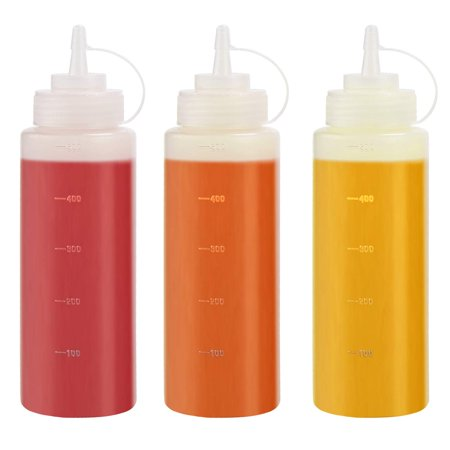 THETIS Homes (3 pack) 16 oz Plastic Squeeze Squirt Condiment Bottles with Twist On Cap Lids