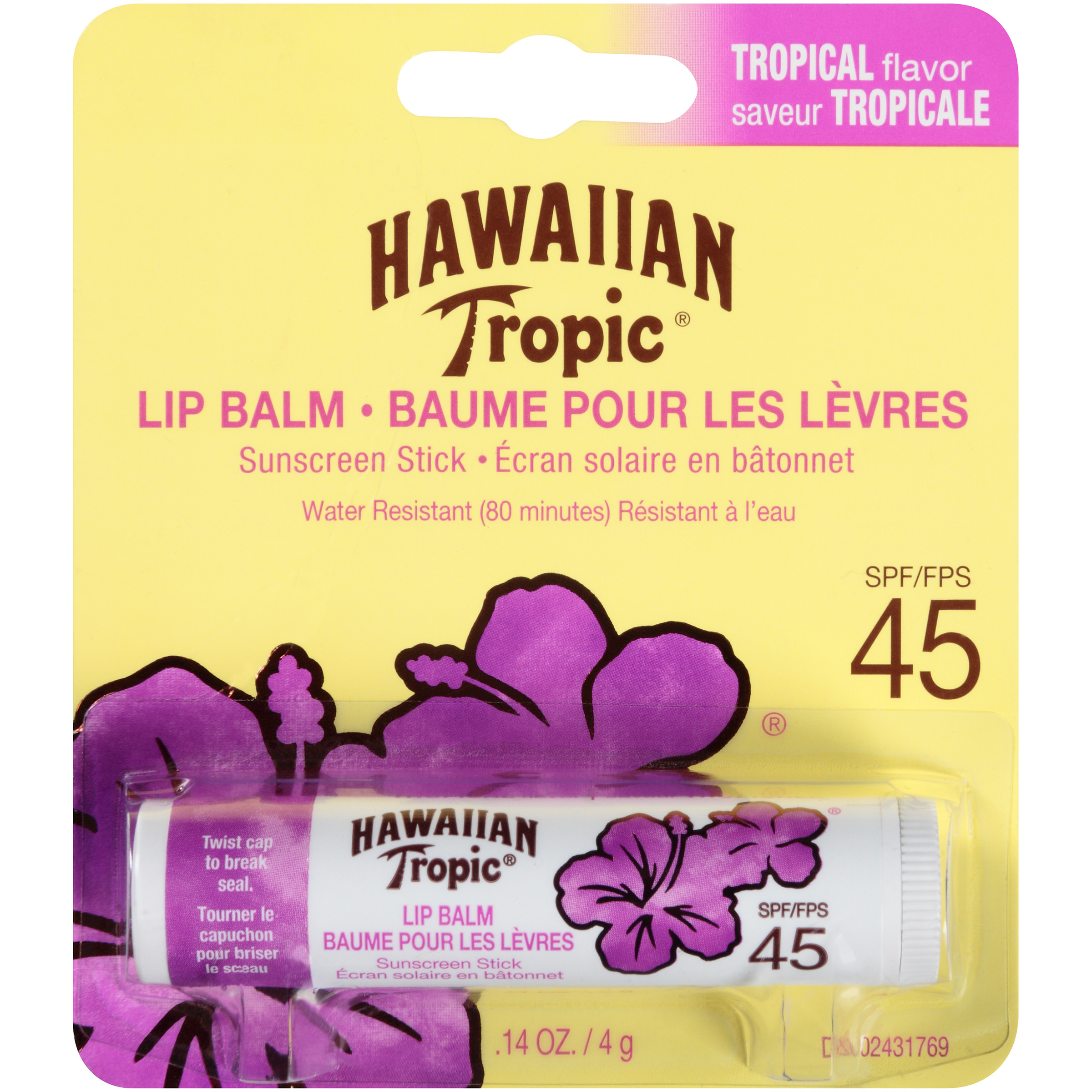 Hawaiian Tropic Lip Balm Sunscreen Stick Tropical Flavor SPF 45 - 1 Count