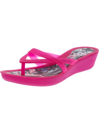 1f39a2e94b79 Crocs Women s Isabella Print Wedge Candy Pink   Tropical Ankle-High Wedged  Sandal - 6M