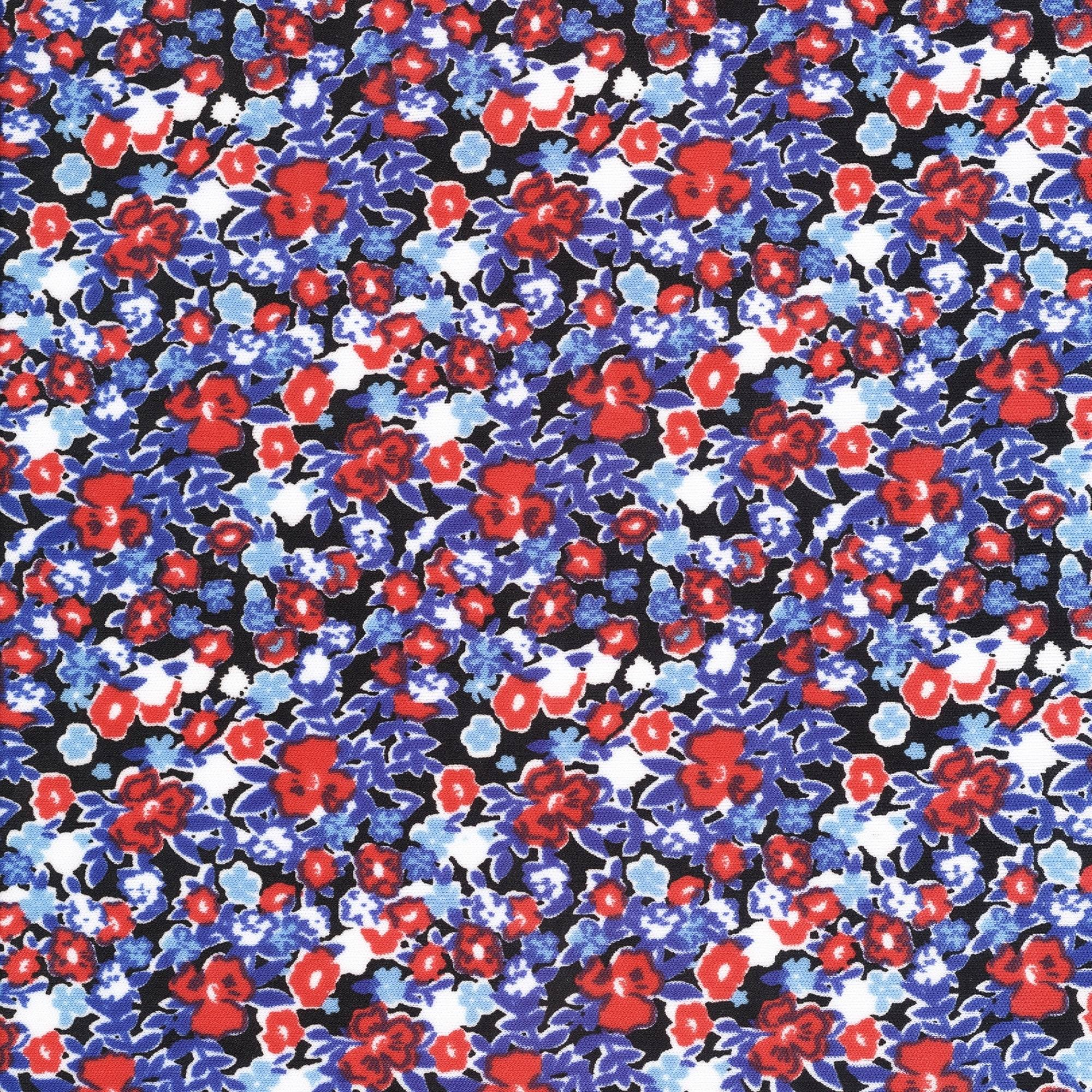 SHASON TEXTILE (3 Yards cut) POLY KNIT DITSY FLORAL PRINT, RED / BLUE FLORAL