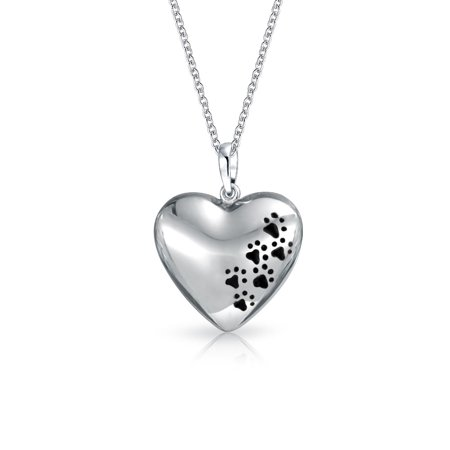 Dog Cat Pet Kitten Puppy Black Paw Prints Heart Shape Pendant Necklace For Women For Teen 925 Sterling Silver With Chain - Puppy Necklace