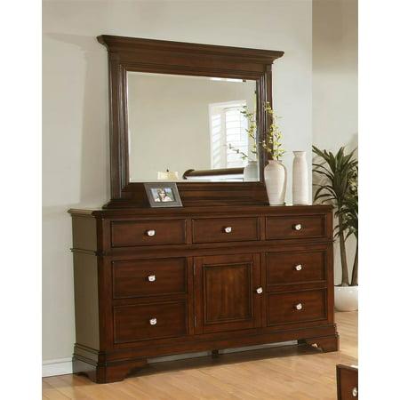 7 drawer dresser with mirror in cherry. Black Bedroom Furniture Sets. Home Design Ideas