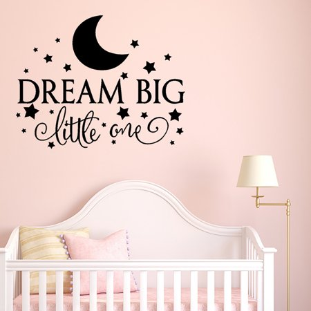 Dream Big Little One Wall Sticker Quotes Wall Decals Decorative Cute Star Moon Pattern Wall Decor Sticker for Baby Toddler Kids Child Bedroom Kindergarten Primary School ()