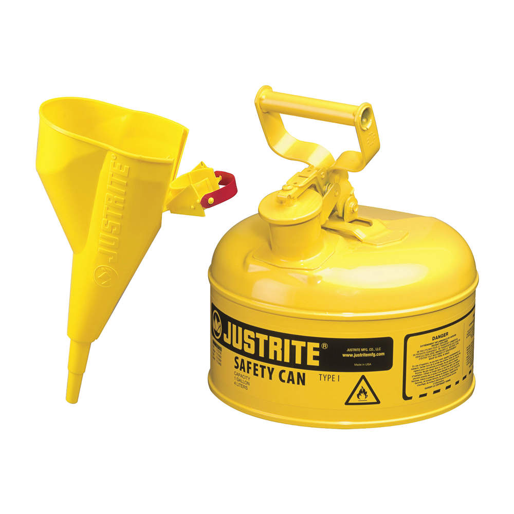 JUSTRITE Type I Safety Can, 1 gal., Yellow, 11In H 7110210