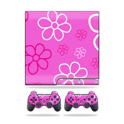 Skin Decal for Sony Playstation 3 PS3 Slim + 2 controllers sticker Flower Power