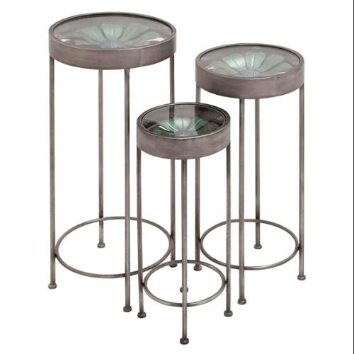 Contemporary Super Cool Set of 3 Metal Glass Plant Stand Home Decor 92387 by