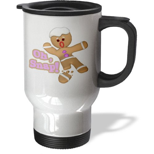 3dRose Funny Oh Snap Broken Snapped Gingerbread Man Cookie Holiday Christmas Humor, Travel Mug, 14oz, Stainless Steel