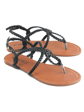 b865f2ce0 Product Image Newstar Braided Strap Thong Flat Sandals for Women