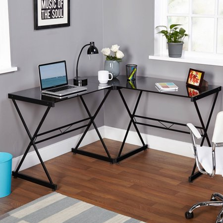 Atrium Metal and Glass L-shaped Computer Desk, Multiple (Glass Modern Desk)