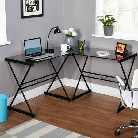 Atrium Metal and Glass L-shaped Computer Desk, Multiple Colors 3 Piece Glass Desk