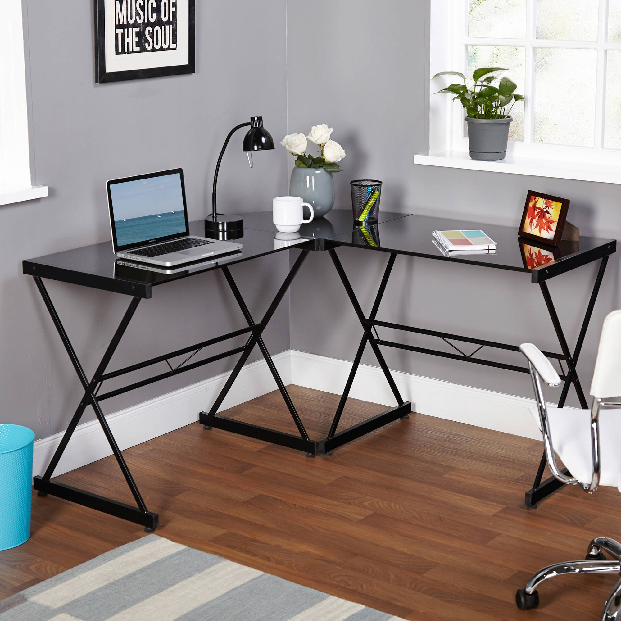 Atrium Metal and Glass L-shaped Computer Desk, Multiple Colors