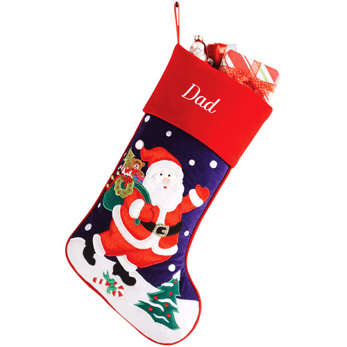 Personalized Velveteen Santa Christmas Stocking