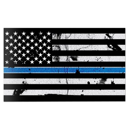 Thin Wall Wheel - American Flag Distressed Thin Blue Line Wall Graphic Super Large Removable 3 Feet Wide 36 Inch Premium Made in USA Vinyl Peel and Stick Decal Sticker