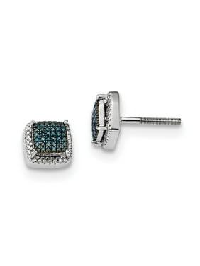 Blue & White Diamond 8mm Square Screw Back Earrings in Sterling Silver