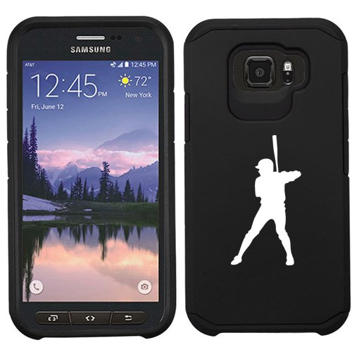 For Samsung Galaxy (S7 Active) Shockproof Impact Hard Soft Case Cover Baseball Player (Black)