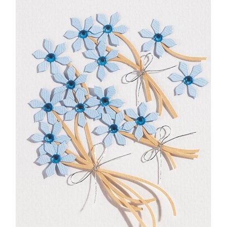 Jolee's Boutique Dimensional Stickers, Blue Jeweled Flowers