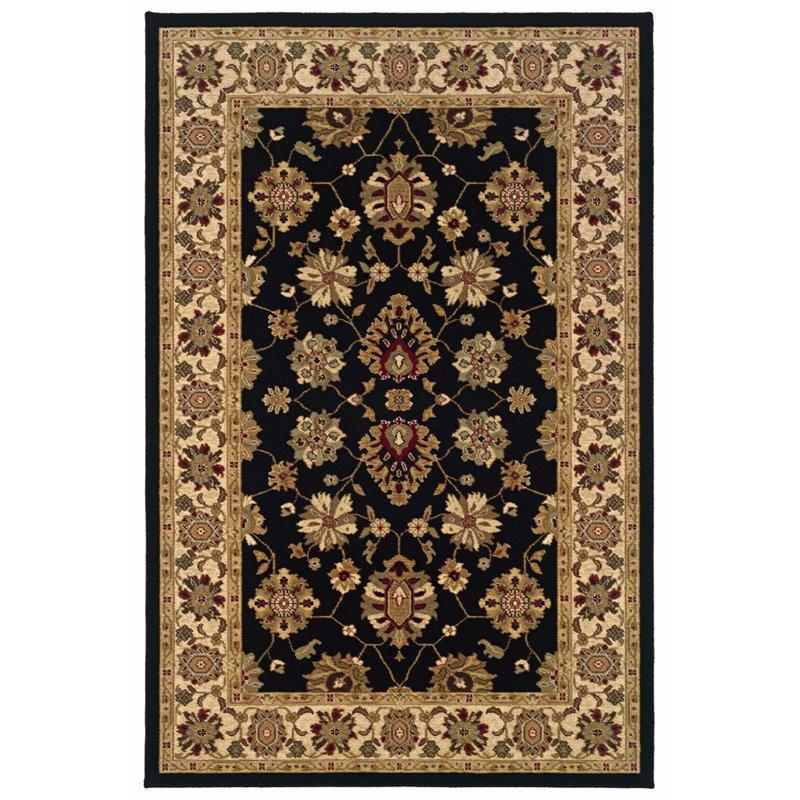 "Oriental Weavers Knightsbridge 5'3"" x 7'9"" Machine Woven Rug in Black"