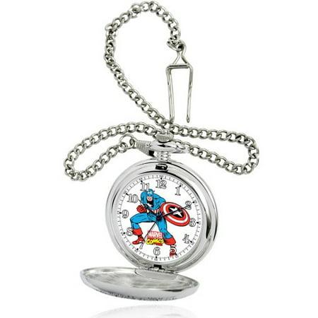 Marvel Men's Silver Pocket Watch, Silver Chain