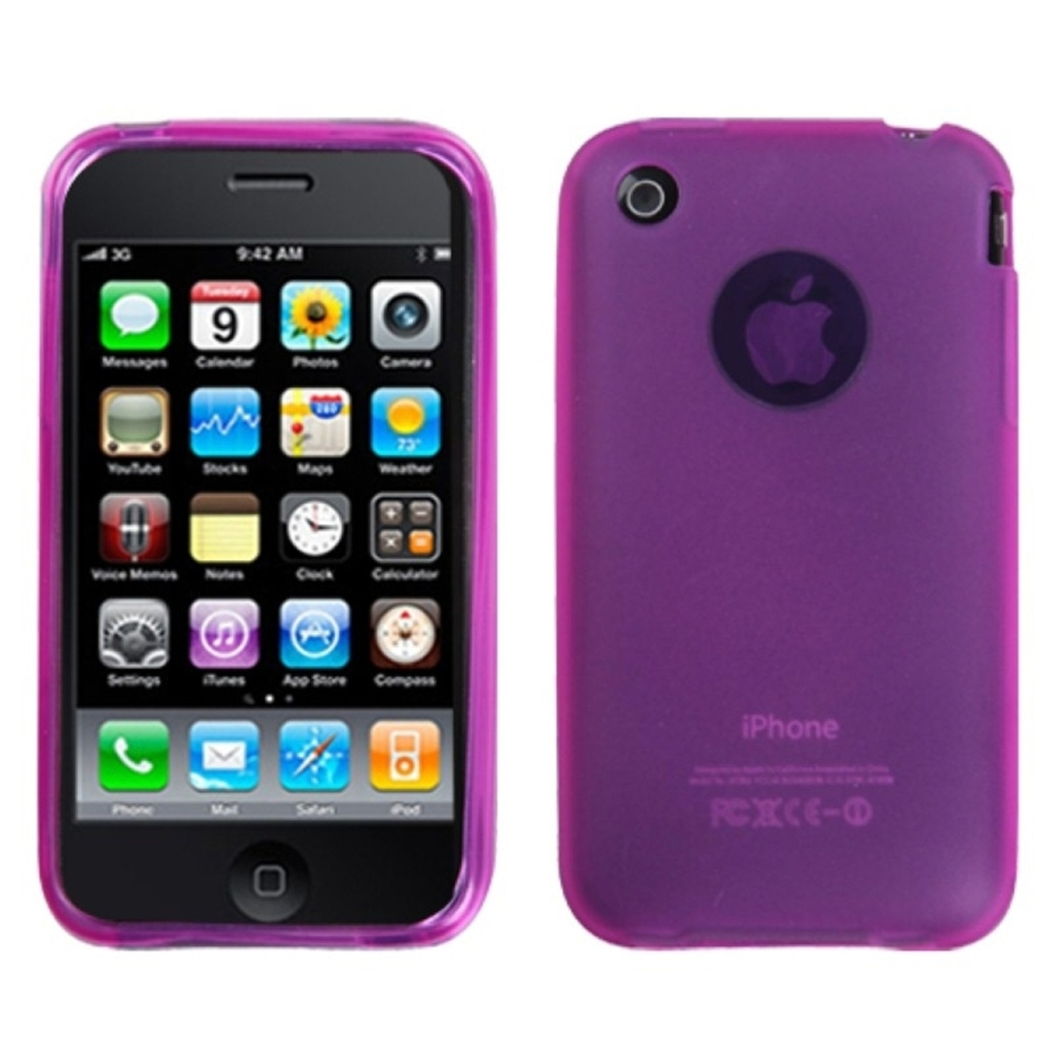 Insten Semi Transparent Hot Pink Candy Case (NO Package) For iPhone 3G/3GS