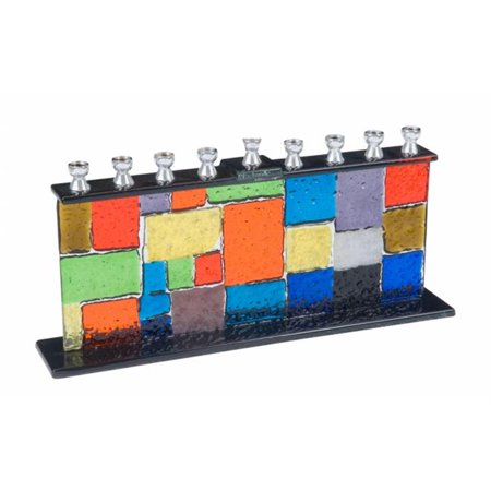 Giftmark M-742 Multi Colored Fused Glass Menorah With Square -