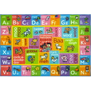 KC Cubs Playtime Collection ABC Alphabet with Old McDonald's Animals Educational Learning Polypropylene Kids and Children Area Rug (5'0 x 6'6)