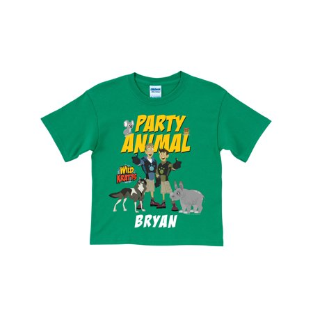 Personalized Wild Kratts Party Animal Toddler Green T Shirt