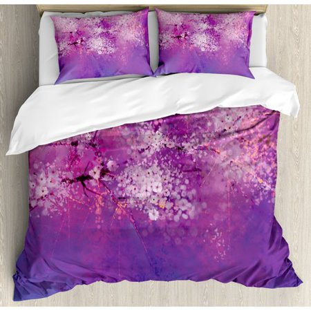 Ambesonne Watercolor Flower Home Asian Japanese Cherry Blossom with Hazy Romantic Paint Duvet Cover Set