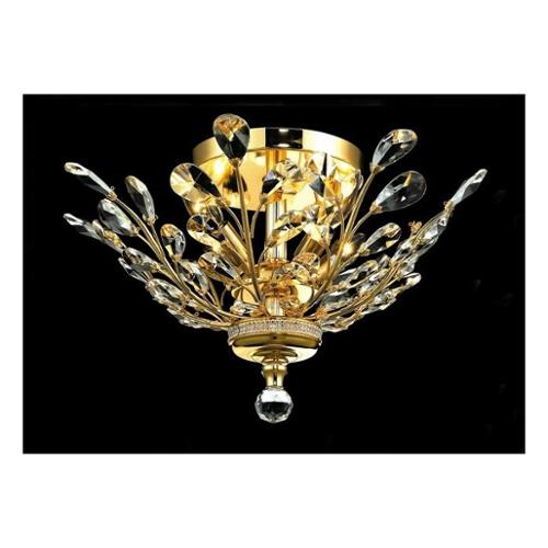 Orchid Clear Crystal Semi-Flush w 4 Lights in Gold (Royal Cut)