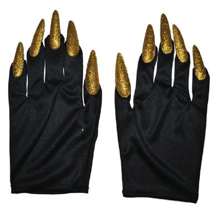 Halloween Costume Witch Nail Gloves, Black with Gold Nails, One-Size, 1 Pair - Halloween Easy Nails