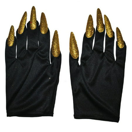 Halloween Tree Nails (Halloween Costume Witch Nail Gloves, Black with Gold Nails, One-Size, 1)