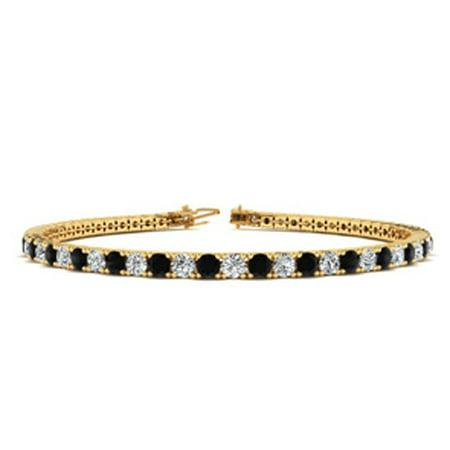 - 6.5 Inch 2 1/2 Carat Black And White Diamond Tennis Bracelet In 10K Yellow Gold