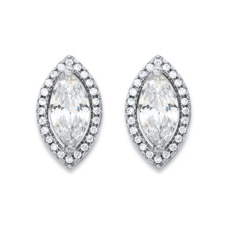 2.32 TCW Marquise-Cut and Round White Cubic Zirconia Halo Stud Earrings in Silvertone ()
