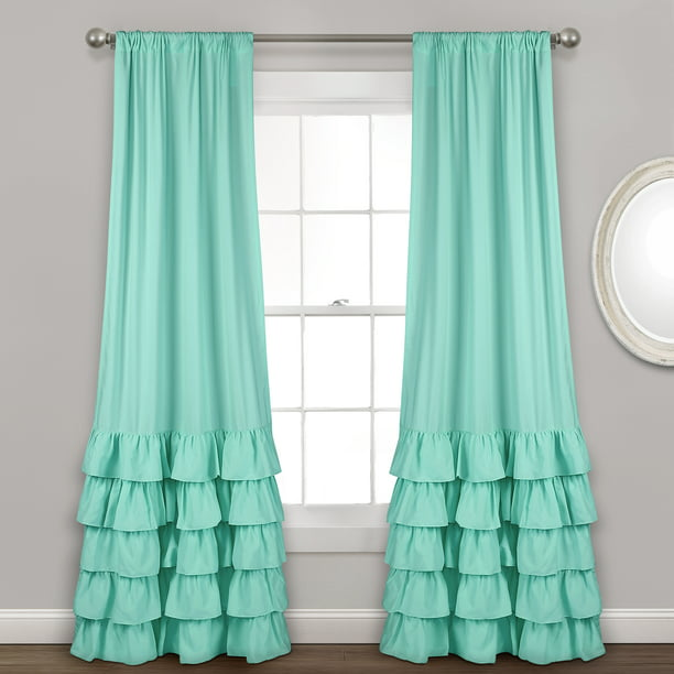 Allison Ruffle Window Curtain Panels Aqua 40X84 Set - Walmart.com - Walmart.com