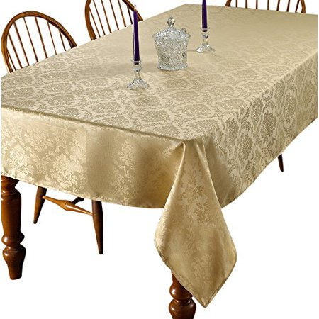 European damask design tablecloth 60 round gold for Tablecloth 52 x 120