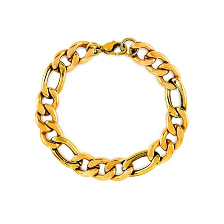 Gold Plated Stainless Steel Figaro Chain Bracelet (11mm) -