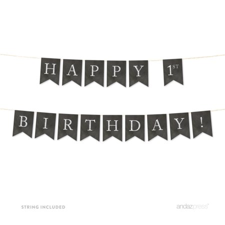 Happy 1st Birthday! Vintage Chalkboard Pennant Party Banner - 1st Birthday Board