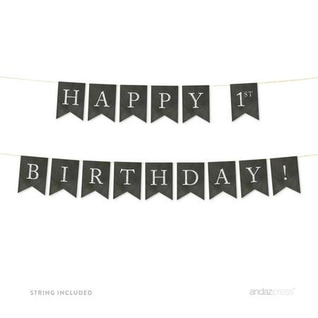 Happy 1st Birthday! Vintage Chalkboard Pennant Party Banner (Happy 1st Birthday Banner)