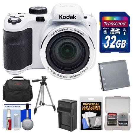 KODAK PIXPRO AZ421 Astro Zoom Digital Camera (White) with 32GB Card + Case + Battery/Charger + Tripod + Kit
