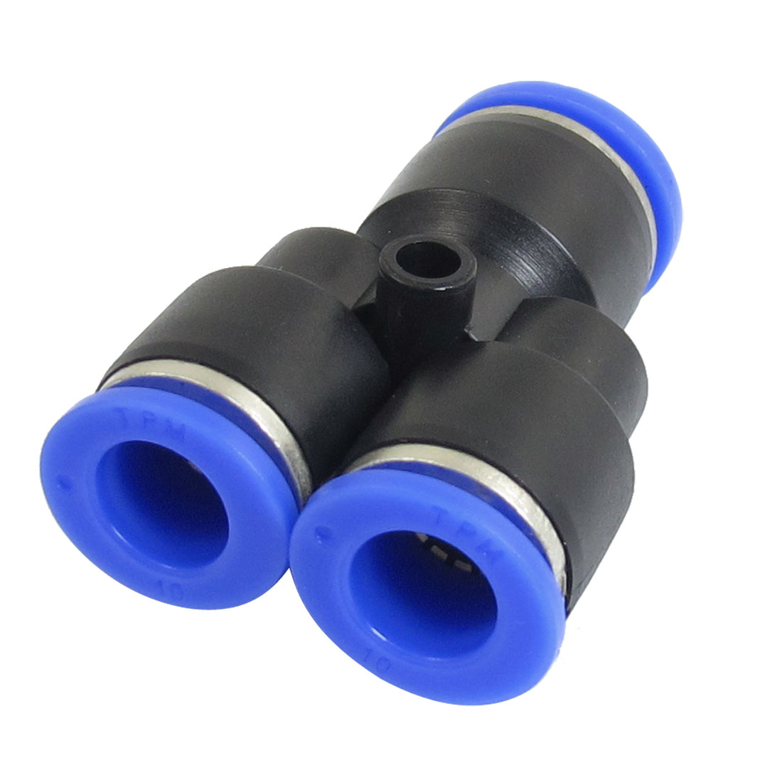 Unique Bargains 12mm to 10mm One Touch Y Union Quick Fitting Instant Connector Blue Black
