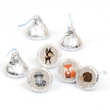 Woodland Creatures - Party Round Candy Sticker Favors Labels Fit Hershey's Kisses (1 sheet of - Woodland Creature Baby Shower