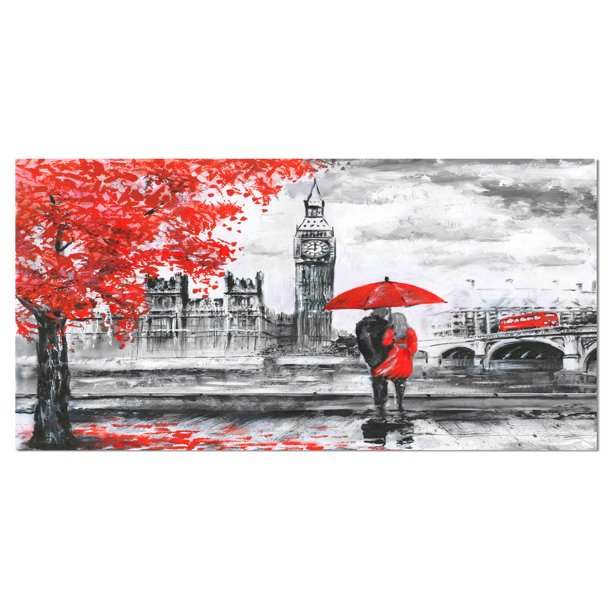 Designart Couples Walking In Paris Landscape Canvas Art Print Walmart Com Walmart Com
