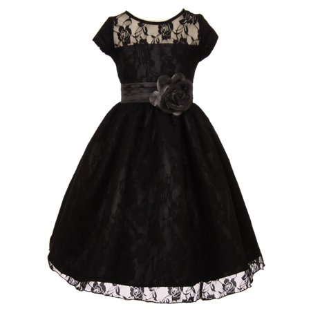 f24f78c8b2 Shanil Inc. - Little Girls Black Lace Overlay Illusion Neckline Flower Girl  Dress 4 - Walmart.com